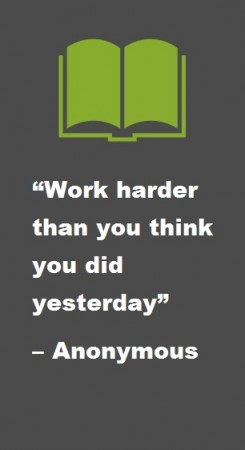 Work Harder than you think you did yesterday